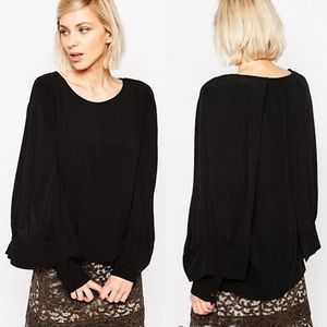 See by Chloe Cape Layered Sleeve Black Blouse
